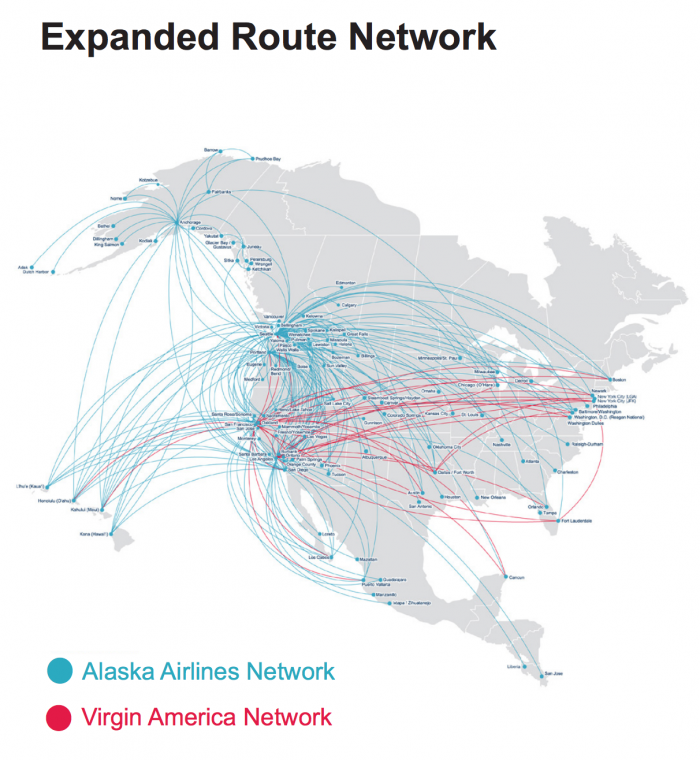 alaska virgin america route map 700x760 - My thoughts on the Alaska Airlines acquisition of Virgin America