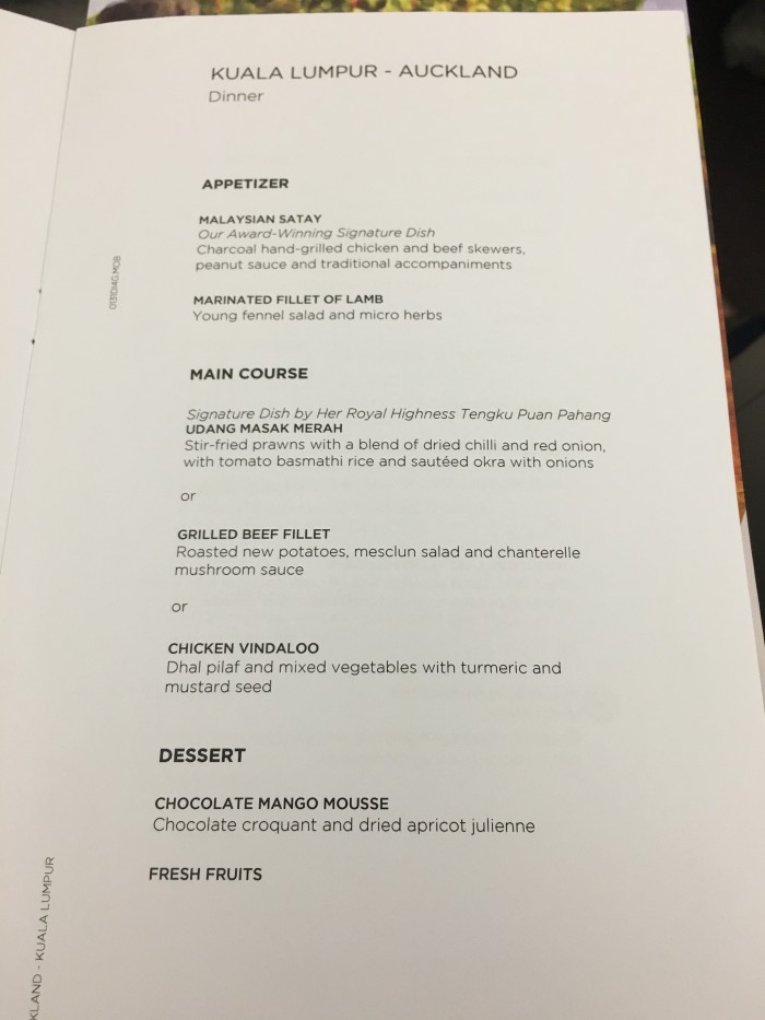 malaysia airlines business class dinner menu kuala lumpur auckland 700x933 - Malaysia Airlines Business Class Airbus A330-300 Kuala Lumpur KUL to Auckland AKL review