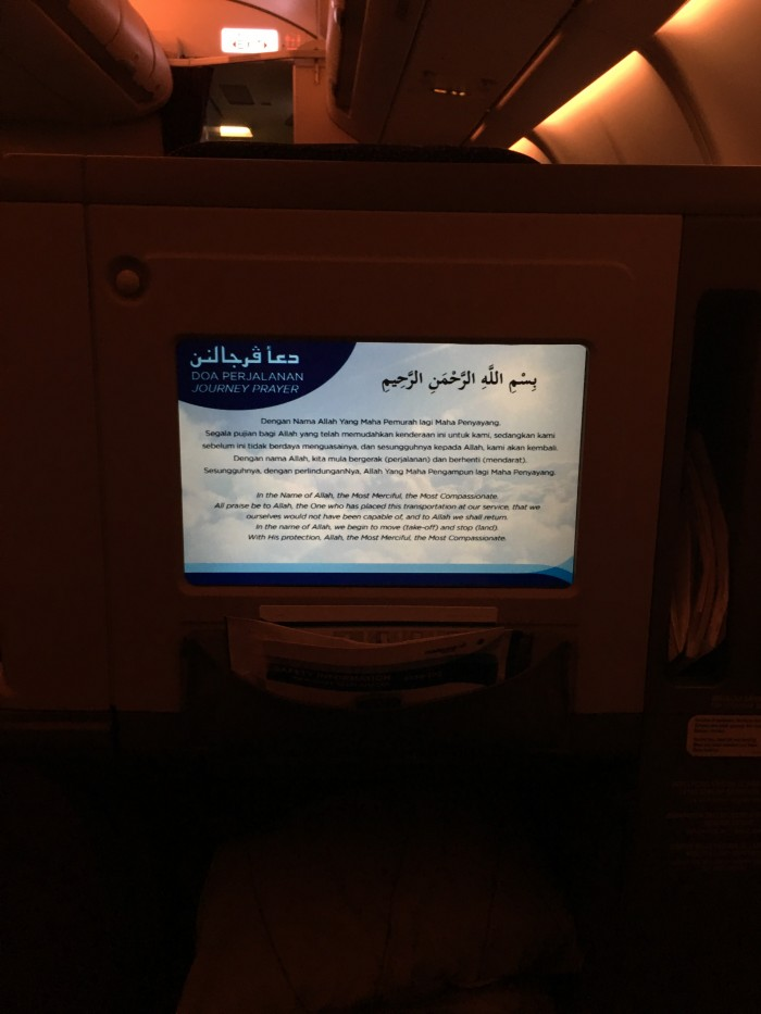 malaysia airlines journey prayer 700x933 - Malaysia Airlines Business Class Airbus A330-300 Kuala Lumpur KUL to Auckland AKL review