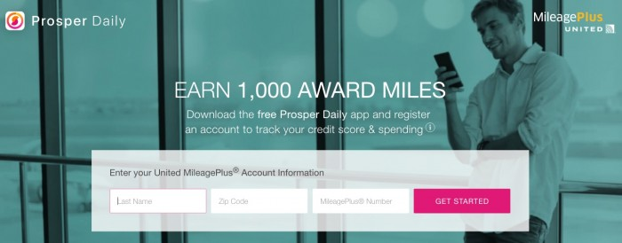 free united miles prosper daily 700x274 - Get 1,000 free United miles for downloading the Prosper Daily app