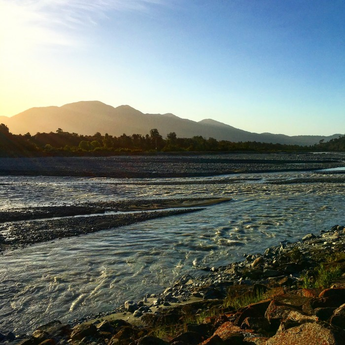waiho river sunset 700x700 - Hiking to Franz Josef Glacier, New Zealand