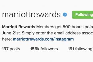free marriott points instagram 300x200 - Get 500 free Marriott Rewards points for following them on Instagram
