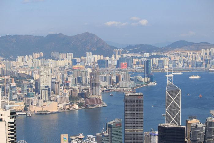 hong kong harbor buildings 700x467 - A visit to Victoria Peak & more great food in Hong Kong