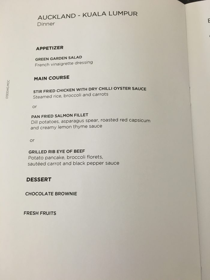 malaysia airlines business class auckland kuala lumpur dinner menu 700x933 - Malaysia Airlines Business Class Airbus A330-300 Auckland AKL to Kuala Lumpur KUL review