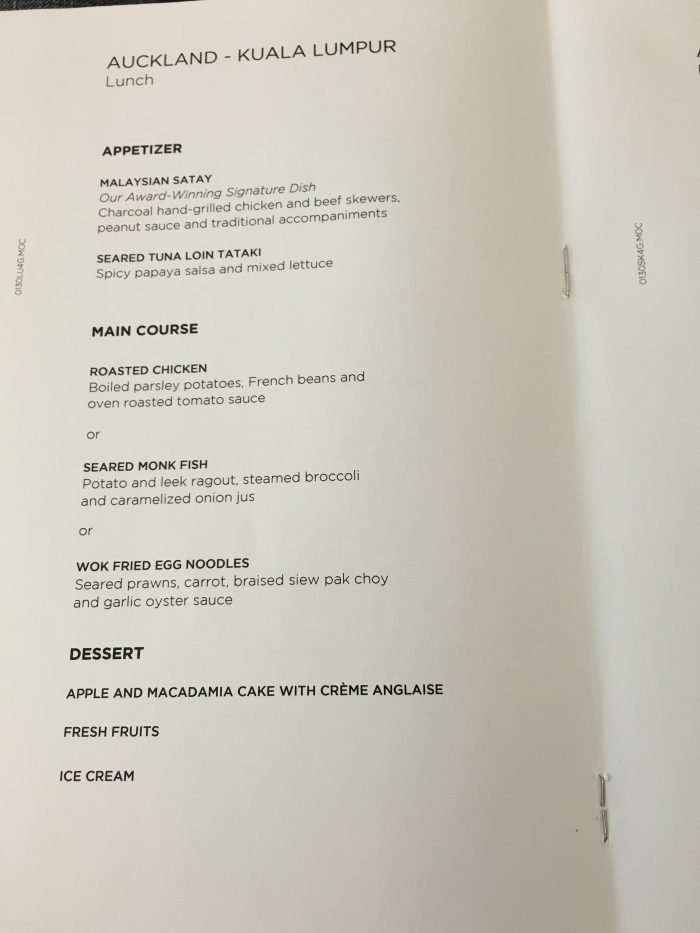 malaysia airlines business class auckland kuala lumpur lunch menu 700x933 - Malaysia Airlines Business Class Airbus A330-300 Auckland AKL to Kuala Lumpur KUL review
