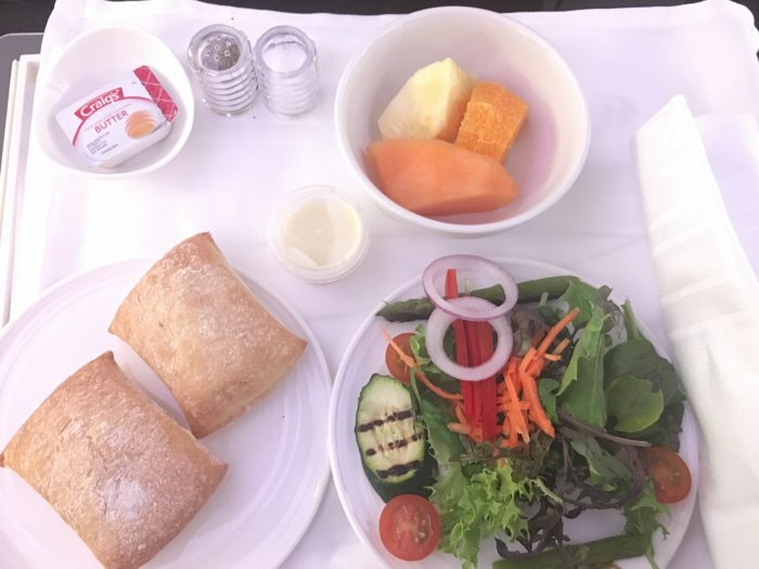 malaysia airlines business class dinner salad 700x525 - Malaysia Airlines Business Class Airbus A330-300 Auckland AKL to Kuala Lumpur KUL review