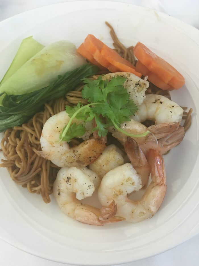 malaysia airlines business class lunch noodles shrimp 700x933 - Malaysia Airlines Business Class Airbus A330-300 Auckland AKL to Kuala Lumpur KUL review