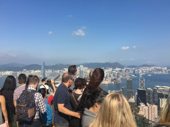 victoria peak observation deck crowds 700x525 - A visit to Victoria Peak & more great food in Hong Kong