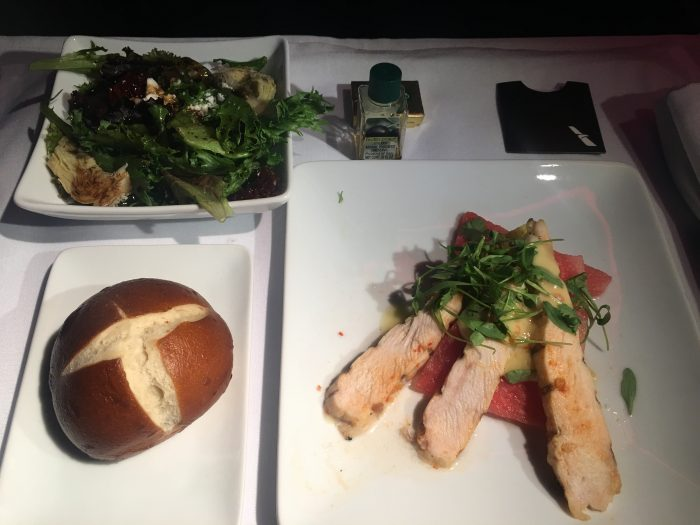 american airlines business class boeing 777 300er los angeles lax to london heathrow lhr appetizer 700x525 - American Airlines Business Class Boeing 777-300ER Los Angeles LAX to London Heathrow LHR review