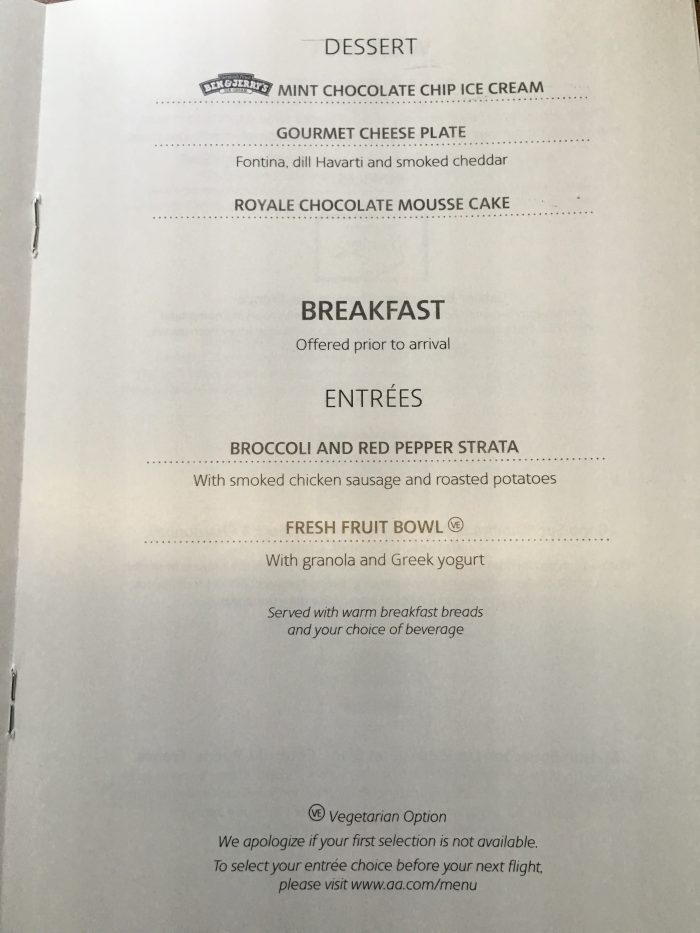 american airlines business class boeing 777 300er los angeles lax to london heathrow lhr breakfast menu 700x933 - American Airlines Business Class Boeing 777-300ER Los Angeles LAX to London Heathrow LHR review