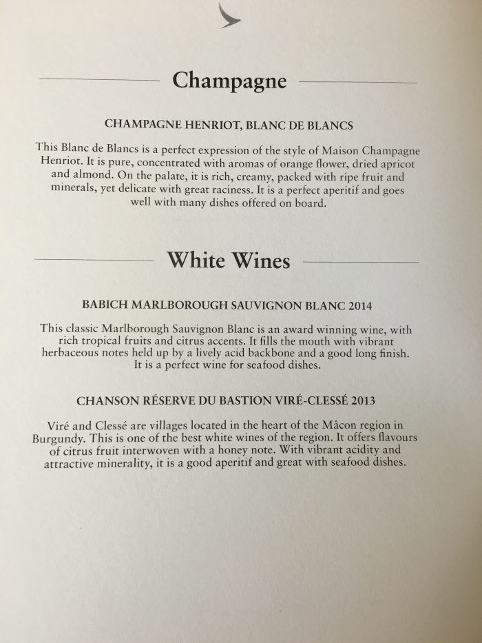 Cathay-Pacific-Business-Class-Airbus-A330-300-Hong-Kong-to-Osaka-via-Taipei-champagne-white-wine-list