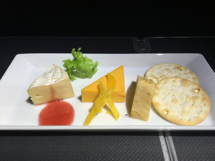jal business class boeing 787 osaka to los angeles cheese platter 700x525 - JAL Business Class Boeing 787 Osaka KIX to Los Angeles LAX review