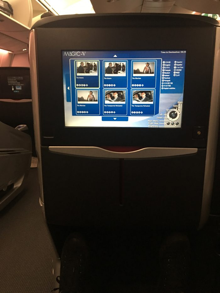 jal business class boeing 787 osaka to los angeles video screen 700x933 - JAL Business Class Boeing 787 Osaka KIX to Los Angeles LAX review