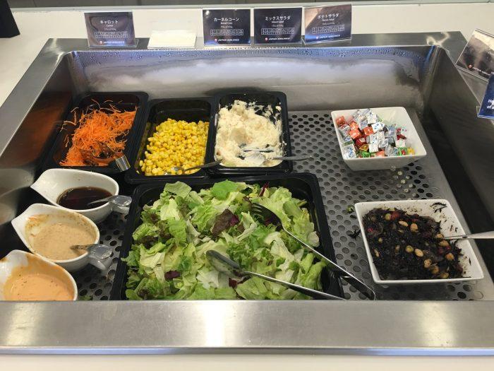 jal sakura lounge osaka salad 700x525 - JAL Sakura Lounge Osaka KIX review