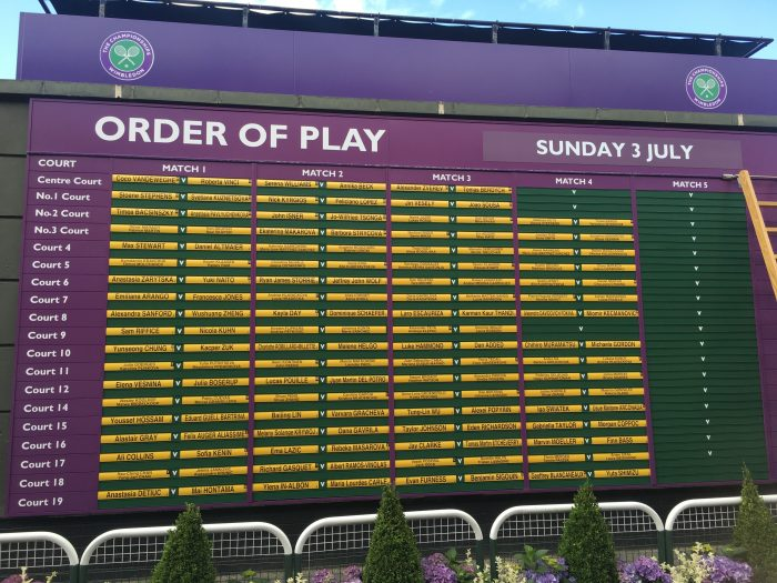 wimbledon order of play peoples sunday 2016 700x525 - A visit to Wimbledon on People's Sunday 2016