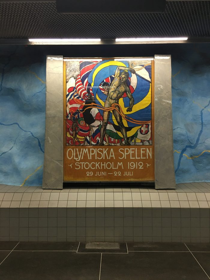 stadion station olympics 700x933 - Exploring the underground art of Stockholm's Metro system
