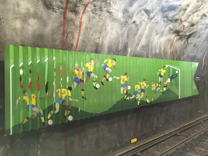 stadshagen soccer 700x525 - Exploring the underground art of Stockholm's Metro system