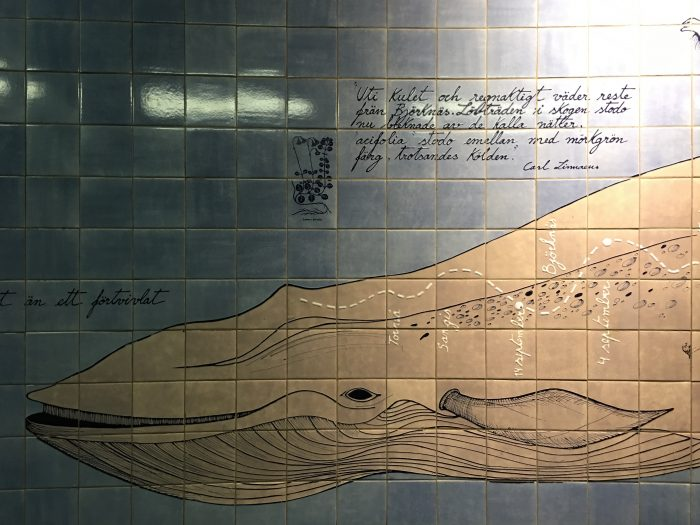 universitetet linnaeus whale 700x525 - Exploring the underground art of Stockholm's Metro system