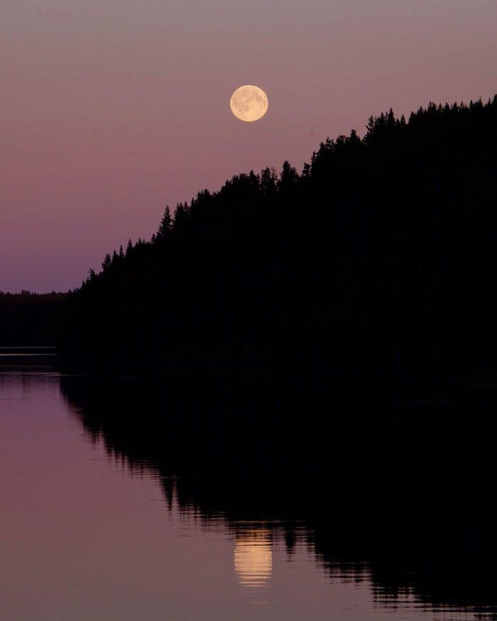grano beckasin full moon reflection 700x874 - Sleeping in a treehouse at Granö Beckasin in Granö, Sweden
