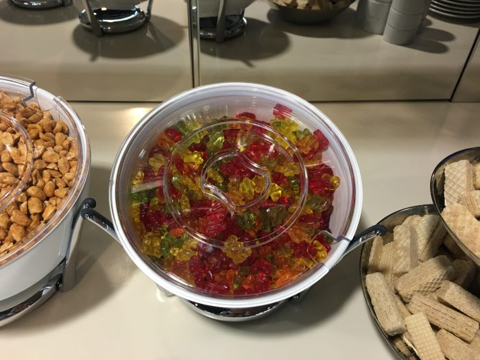 lufthansa business lounge dusseldorf gummy bears 700x525 - Lufthansa Business Lounge Dusseldorf DUS Airport review