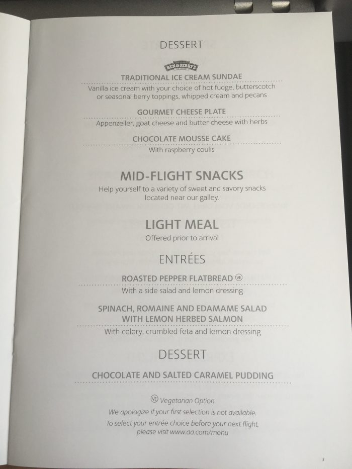 american airlines business class boeing 767 dusseldorf dus to chicago ord light meal menu 700x933 - American Airlines Business Class Boeing 767 Dusseldorf DUS to Chicago ORD review