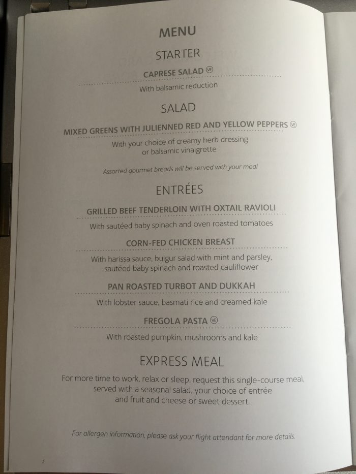 american airlines business class boeing 767 dusseldorf dus to chicago ord lunch menu 700x933 - American Airlines Business Class Boeing 767 Dusseldorf DUS to Chicago ORD review