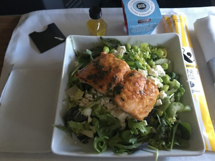 american airlines business class boeing 767 dusseldorf dus to chicago ord salmon salad 700x525 - American Airlines Business Class Boeing 767 Dusseldorf DUS to Chicago ORD review