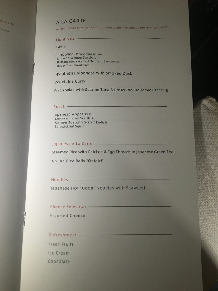 japan airlines boeing 777 300er first class san francisco sfo tokyo haneda hnd a la carte menu 700x933 - Japan Airlines JAL First Class Boeing 777-300ER San Francisco SFO to Tokyo Haneda HND review