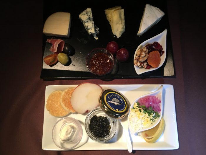 japan airlines boeing 777 300er first class san francisco sfo tokyo haneda hnd caviar cheese 700x525 - Japan Airlines JAL First Class Boeing 777-300ER San Francisco SFO to Tokyo Haneda HND review