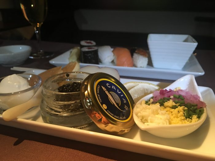 japan airlines boeing 777 300er first class san francisco sfo tokyo haneda hnd caviar sushi 700x525 - Japan Airlines JAL First Class Boeing 777-300ER San Francisco SFO to Tokyo Haneda HND review