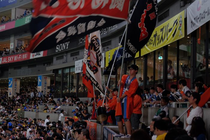 japanese baseball flags 700x467 - Attending a Fukuoka SoftBank Hawks Japanese baseball game