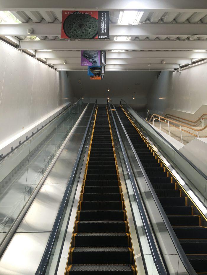 kyushu national museum side entrance escalator 700x933 - A day trip from Fukuoka to Dazaifu, Japan