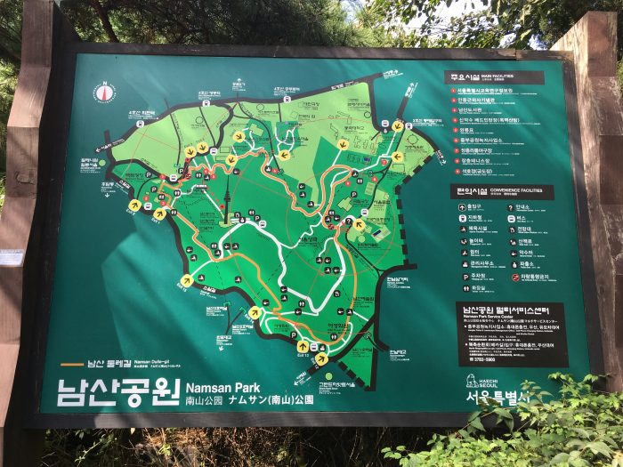 namsan park map 700x525 - Walking the Seoul City Wall - Namsan (Mongmyeok) Mountain Trail section