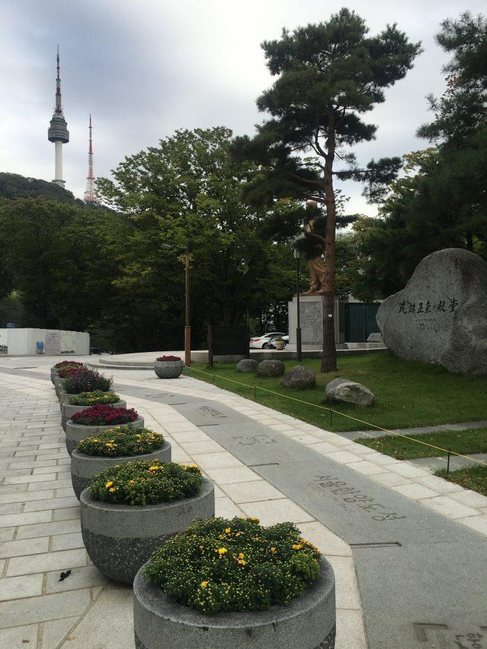 seoul city wall outline seoul tower 700x933 - Walking the Seoul City Wall - Namsan (Mongmyeok) Mountain Trail section