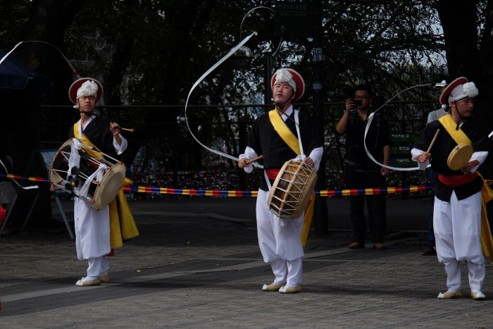 seoul tower dancers drummers 700x467 - Walking the Seoul City Wall - Namsan (Mongmyeok) Mountain Trail section