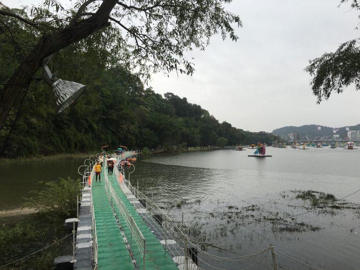 jinju lantern festival floating bridge river 700x525 - Attending the Jinju Lantern Festival in Jinju, South Korea