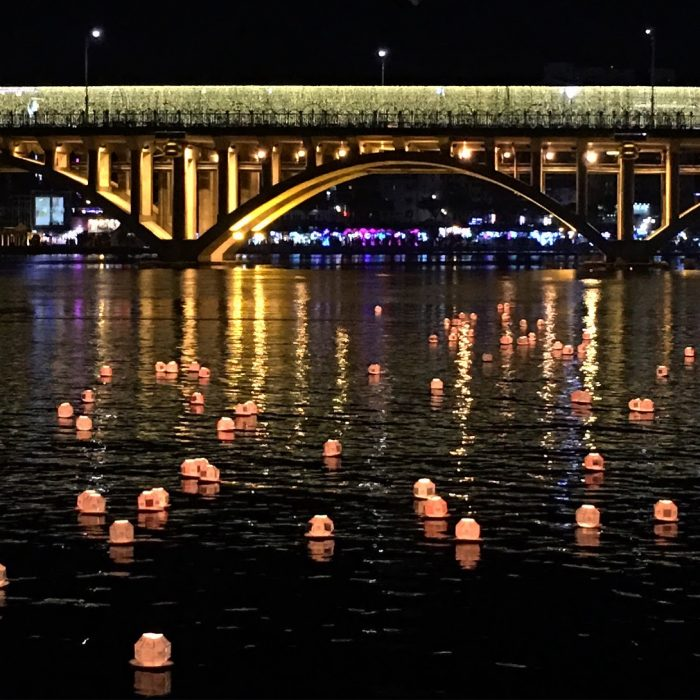 jinju lantern festival lanterns float river 700x700 - Attending the Jinju Lantern Festival in Jinju, South Korea