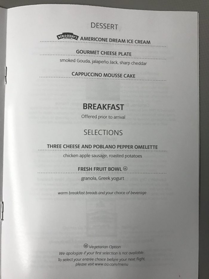 american airlines business class boeing 777 200 los angeles to london heathrow breakfast menu 700x933 - American Airlines Business Class Boeing 777-200 Los Angeles LAX to London Heathrow LHR review