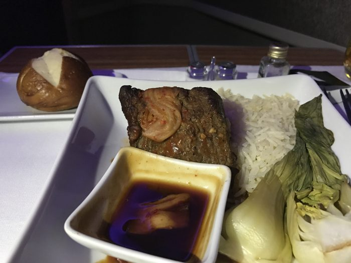 american airlines business class boeing 777 200 los angeles to london heathrow dinner 700x525 - American Airlines Business Class Boeing 777-200 Los Angeles LAX to London Heathrow LHR review