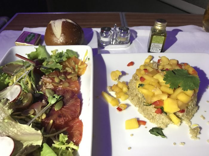 american airlines business class boeing 777 200 los angeles to london heathrow salad starter 700x525 - American Airlines Business Class Boeing 777-200 Los Angeles LAX to London Heathrow LHR review