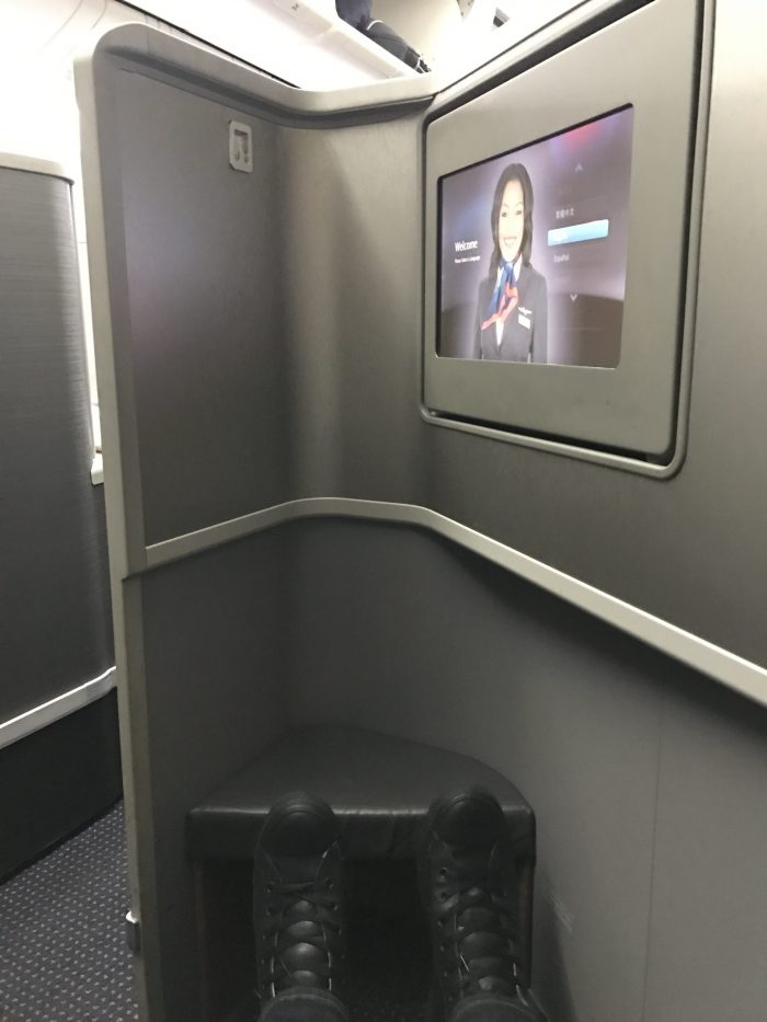 american airlines business class boeing 777 200 los angeles to london heathrow screen legroom 700x933 - American Airlines Business Class Boeing 777-200 Los Angeles LAX to London Heathrow LHR review