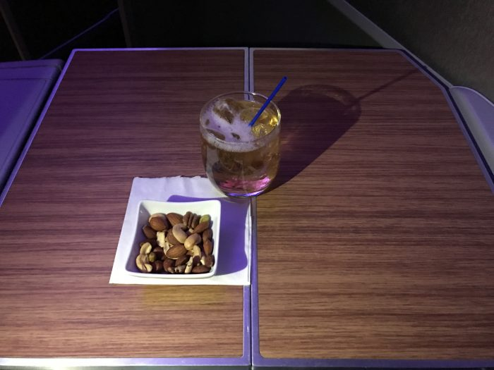 american airlines business class boeing 777 200 los angeles to london heathrow warm nuts cocktail 700x525 - American Airlines Business Class Boeing 777-200 Los Angeles LAX to London Heathrow LHR review