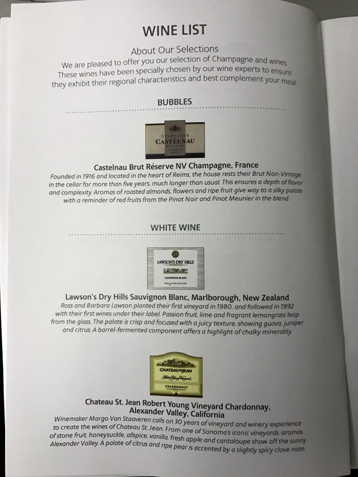 American airlines business class boeing 777 200 los for Table 52 wine list