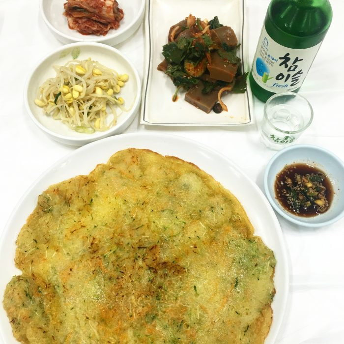 gamja jeon dotorimuk soju 700x700 - Staying & eating near the entrance of Seoraksan National Park in Sokcho, South Korea - Goodstay Smile Resort & Guesthouse