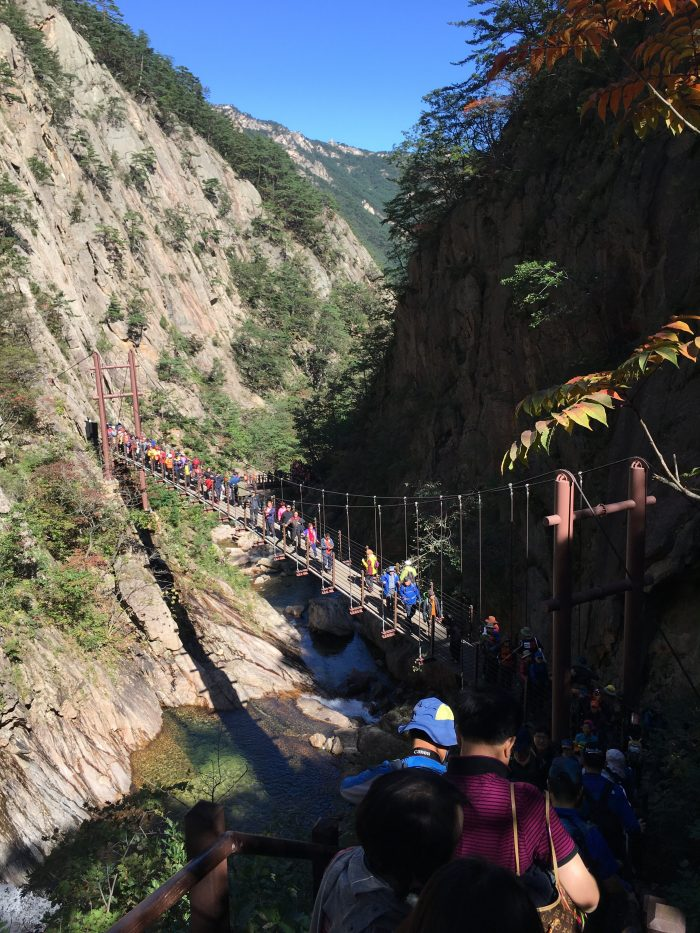 yukdam falls bridge 700x933 - Hiking in Seoraksan National Park - Biryong, Yukdam, & Towangseong Falls