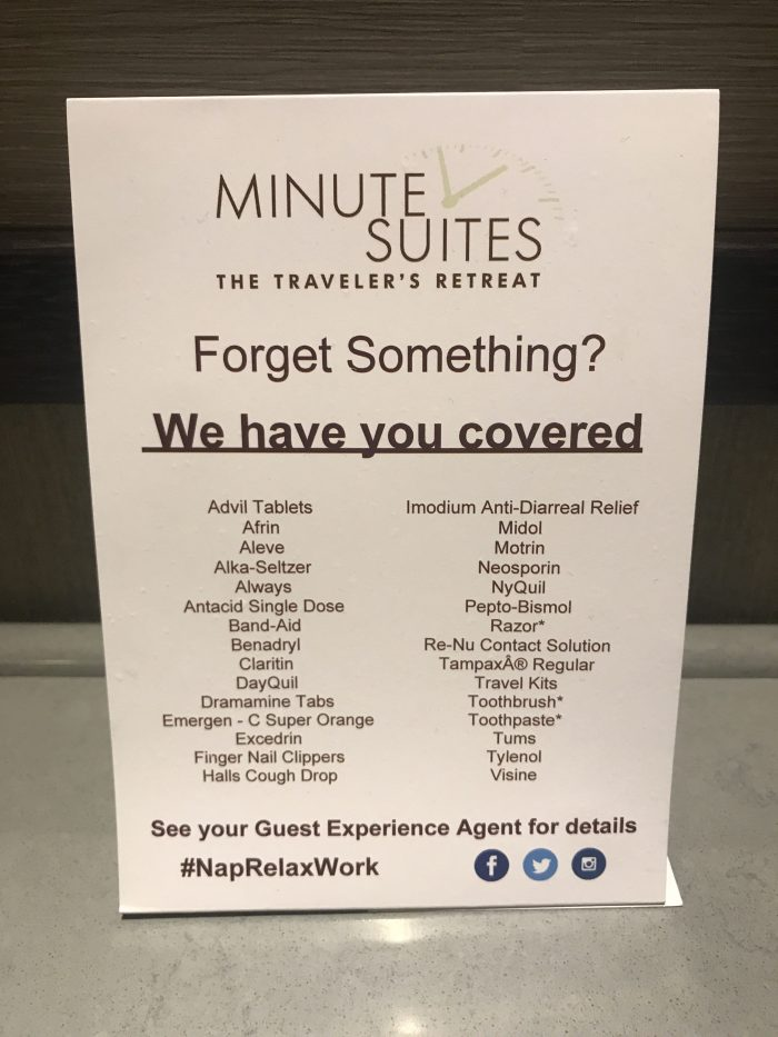 minute suites dallas fort worth dfw terminal a toiletries medications 700x933 - Minute Suites Dallas-Fort Worth DFW Terminal A review