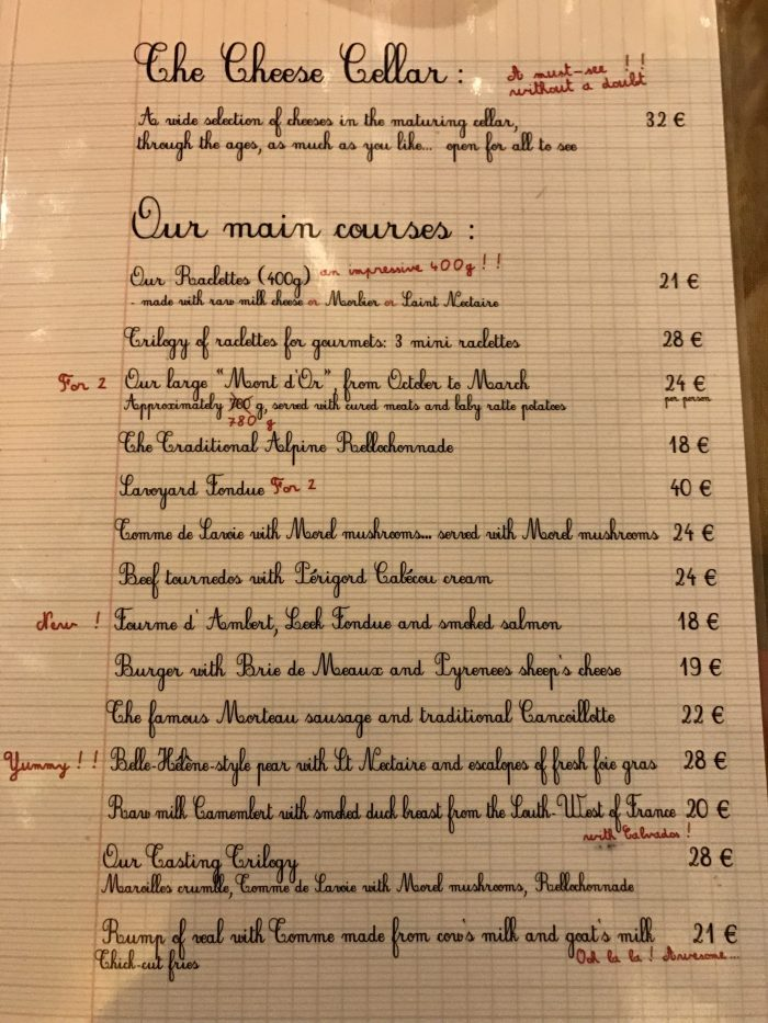 baud et millet menu 700x933 - An all-you-can-eat cheese feast at Baud Et Millet in Bordeaux, France
