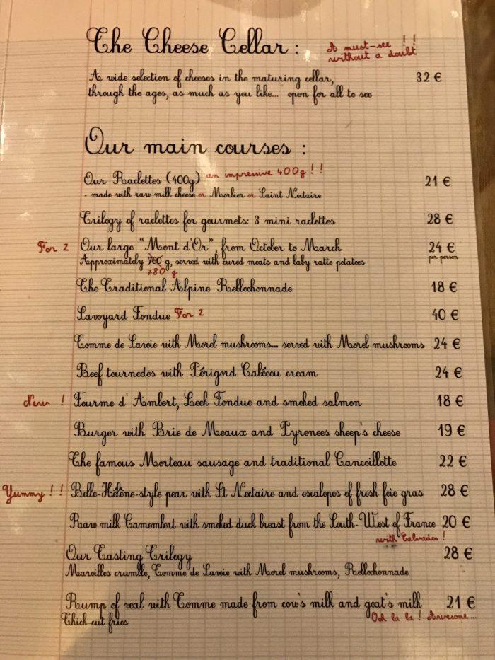 baud et millet menu 700x933 - A cheese feast at Baud Et Millet in Bordeaux, France