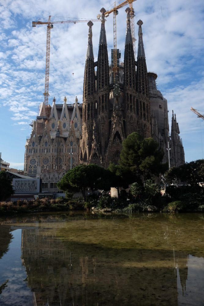 sagrada familia park lake 667x1000 - A visit to the Sagrada Familia in Barcelona, Spain