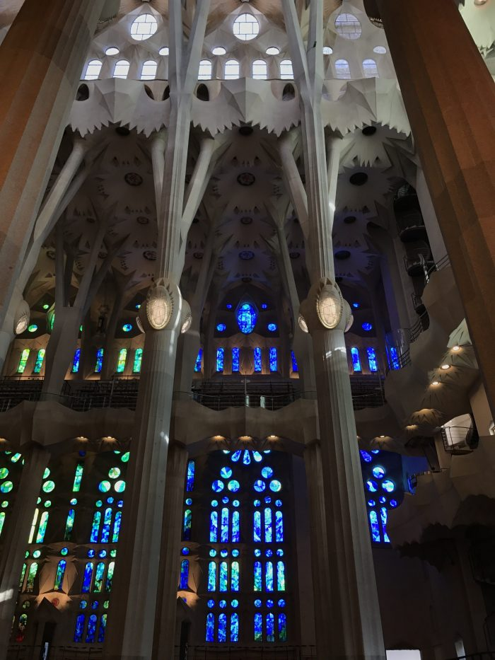 sagrada familia stained glass columns 700x933 - A visit to the Sagrada Familia in Barcelona, Spain